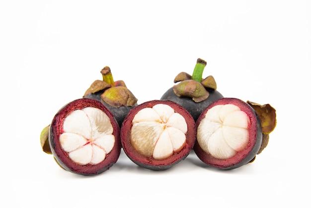 Mangoteen fruit on white background.