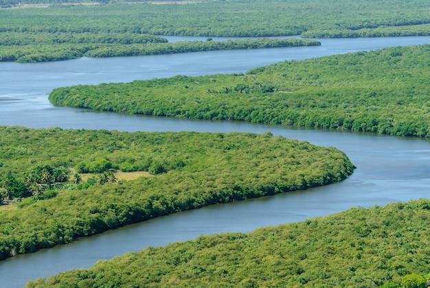 2010年3月10日、ブラジル、パライバ、ジョアンペソアのパライバ川のマングローブ。空撮。