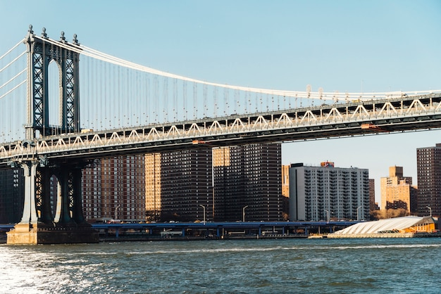 Manhattan bridge from waterfront in new york