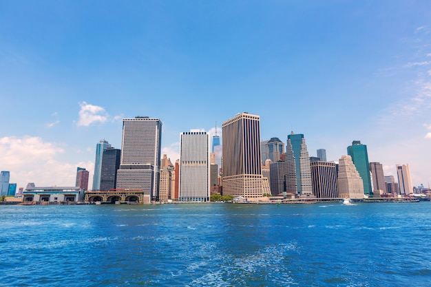 Manhattan new york skyline from ny bay in usa