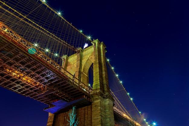 Manhattan skyline from the brooklyn bridge at dusk