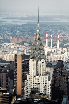 Manhattan streets and roofs with chrysler building. new york city manhattan midtown birds eye view