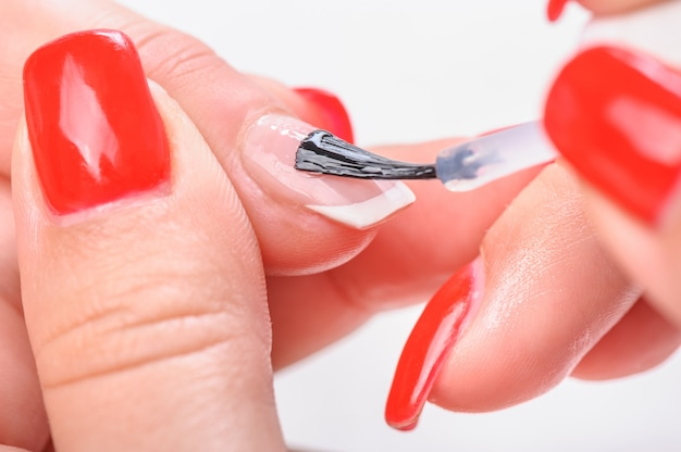 Manicure nail transparent painting