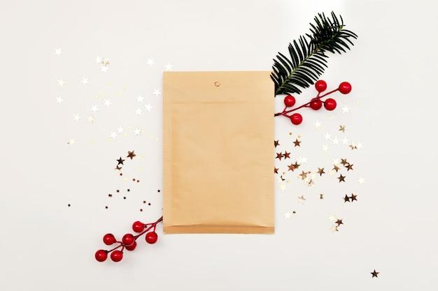 Manila envelope with christmas decoration