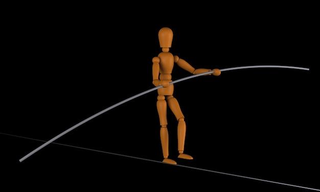 마네킹은 격리된 검정색 배경을 가진 슬랙라인에서 균형을 잡습니다.