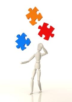 Манекен жонглирует цветной головоломкой, созданной цифровым способом