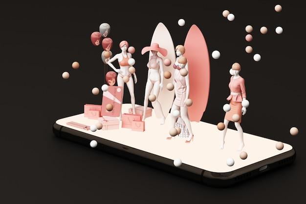 Манекен на смартфоне в окружении хозяйственной сумки и подарочной коробке с кредитной картой на черном фоне 3d-рендеринга