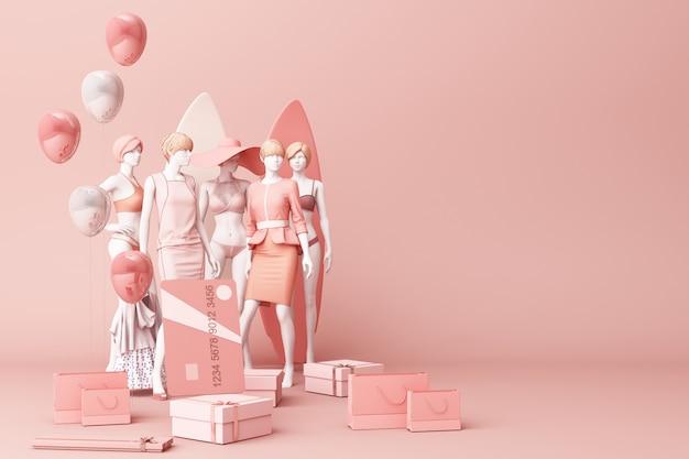 Манекен в окружении хозяйственной сумки и подарочной коробке с кредитной картой на розовом фоне 3d-рендеринга