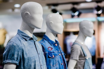 Mannequins in clothing