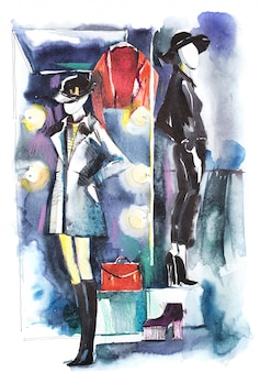 Mannequins standing in store window display watercolor illustration
