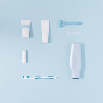 パステルブルーの背景に不可欠な化粧品をマン最小限の創造的なパターンのアイデア