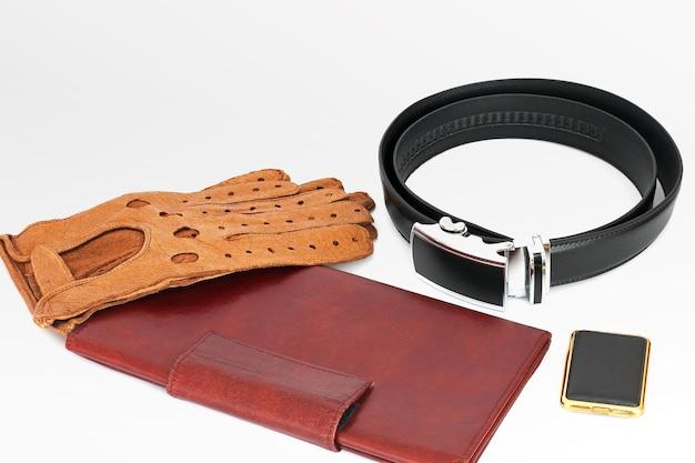 A mans set accessories for men wallet gloves matches belt