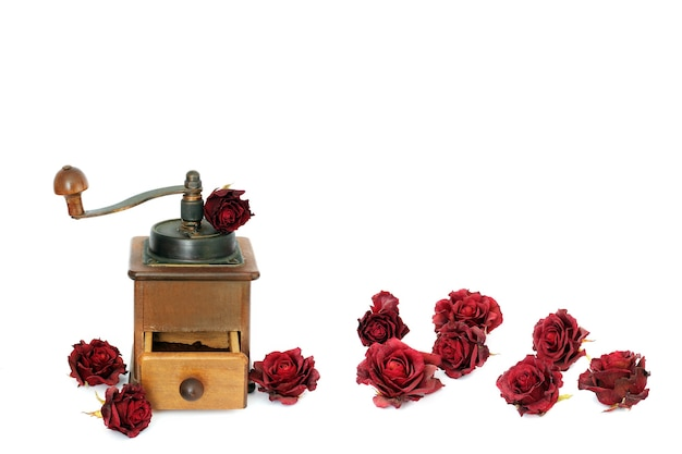 Manual coffee grinder with roses
