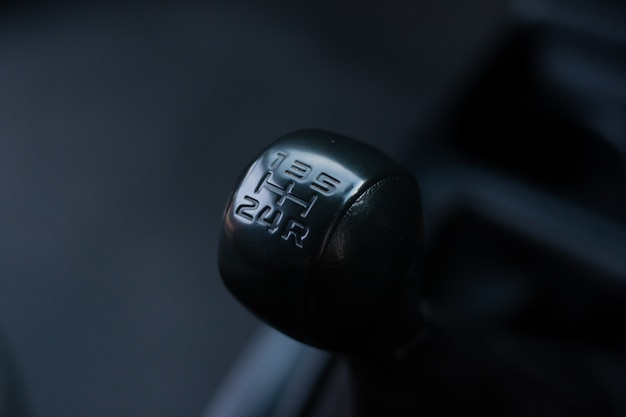 Manual gearbox in the car black
