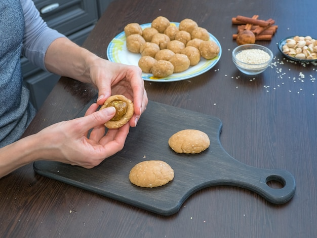 Manual production of cookies for the holiday. preparation of egyptian cookies