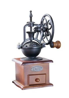 Manual vintage coffee grinder isolated on white background