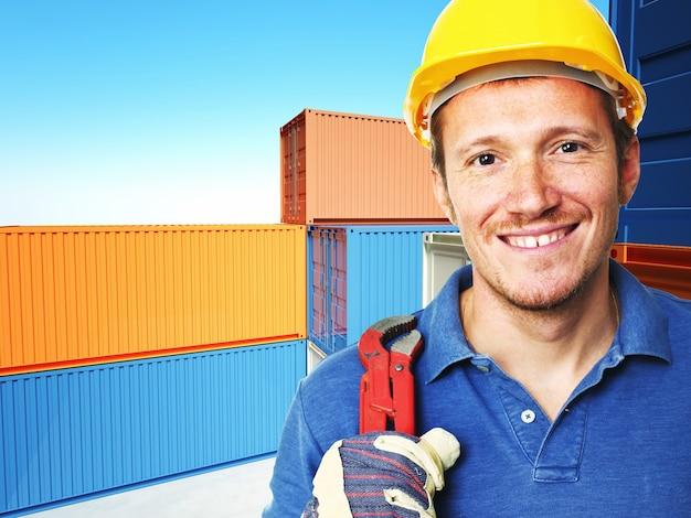 Портрет рабочего и классический контейнер 3d фон