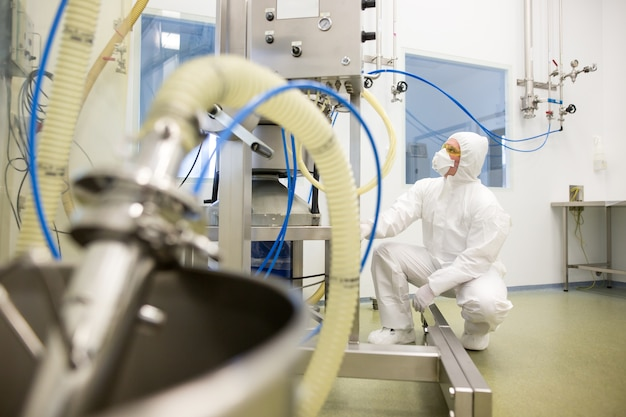Manufacture of pharmaceuticals in chemistry laboratory, development concept
