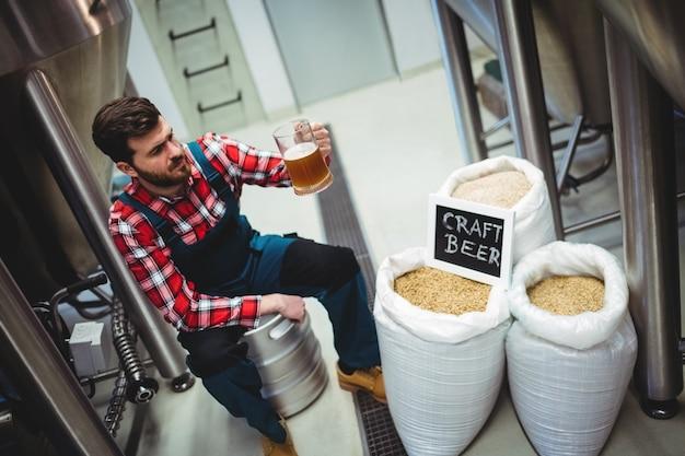 Manufacturer examining beer at brewery