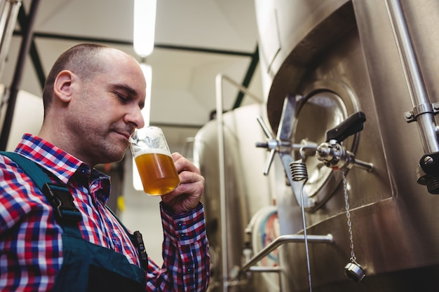 Manufacturer smelling beer at brewery