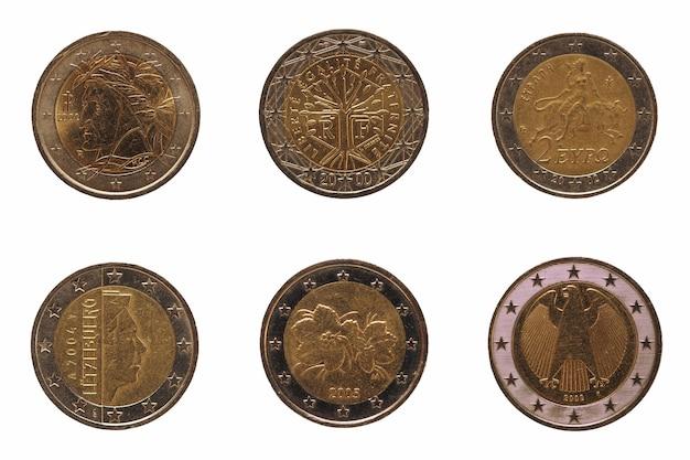 Многие монеты 2 евро, европейский союз