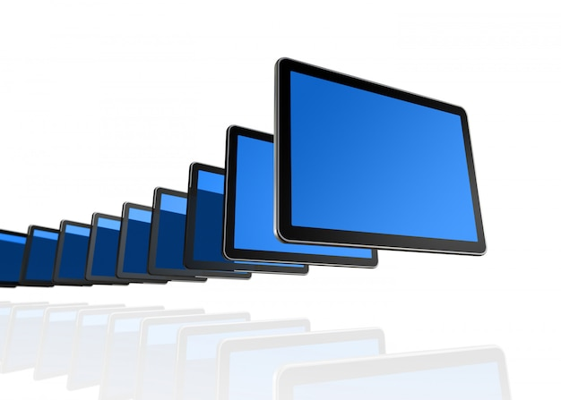 Many 3d tv, computer screens isolated on white