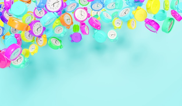 Many alarm clocks of all colors floating in the air with space for text 3d render