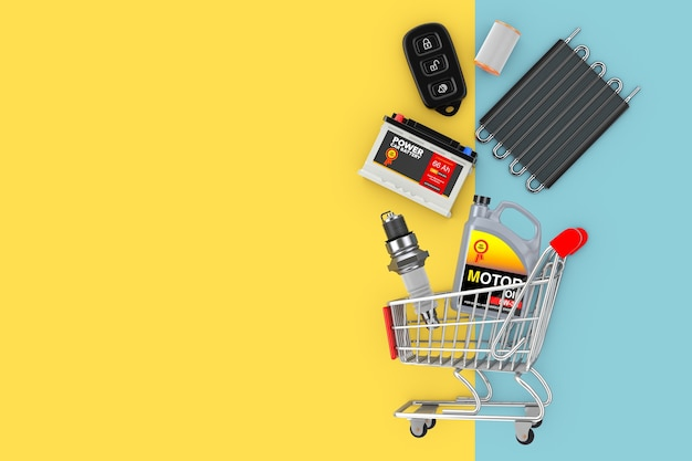 노란색과 파란색 배경에 쇼핑 카트에 떨어지는 많은 자동차 예비 부품. 3d 렌더링