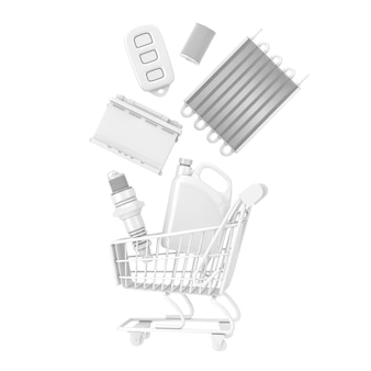 Many automobile spares falling in shopping cart in clay style on a white background. 3d rendering