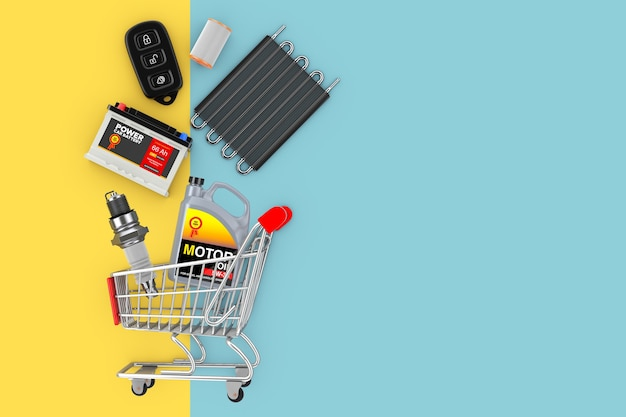 Many automobile spares falling in shopping cart on a yellow and blue background. 3d rendering
