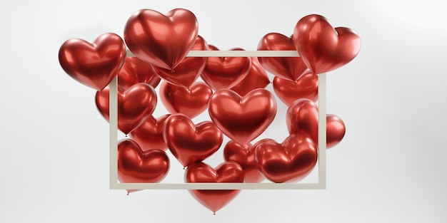Many balloons in the shape of a red heart in a volumetric frame on an isolated white background.