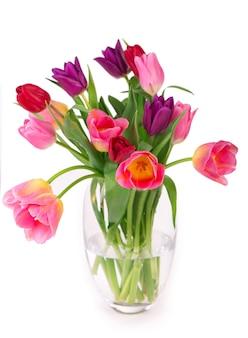 Многие красивые красочные тюльпаны с листьями в стеклянной вазе, изолированные на прозрачной поверхности