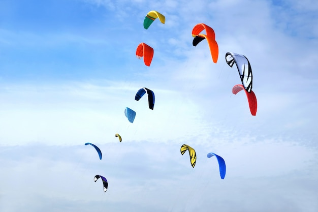 Many big colorful sport kites flying high in bright blue sky on sunny day
