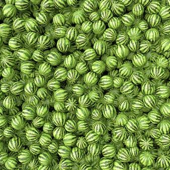 많은 큰 달콤한 녹색 수박