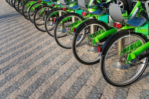 많은 검은색과 녹색 자전거가 연속으로 있습니다. 자전거 제조 산업의 동향. 사이클 그룹입니다. 임대 주차장에 자전거 스탠드입니다. 친환경 교통 개념입니다. 도시의 친환경 교통