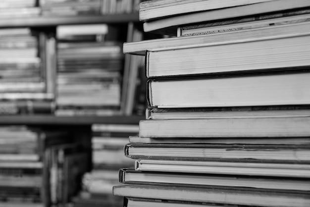 Many books on book shelves