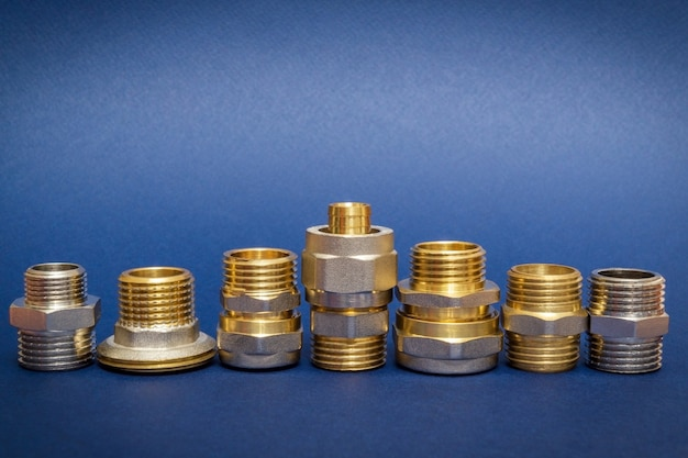 Many brass fittings is often used to connect for water and gas installations on blue space