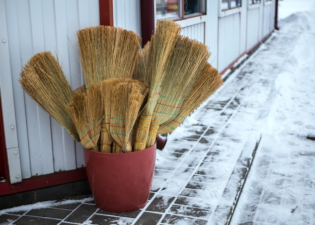 Many brooms are sold