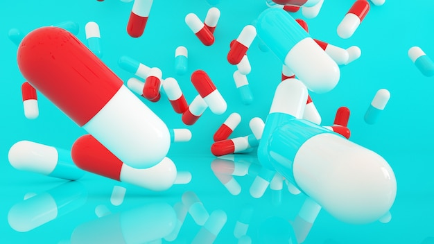 Many capsule pills flying over blue background, 3d rendering