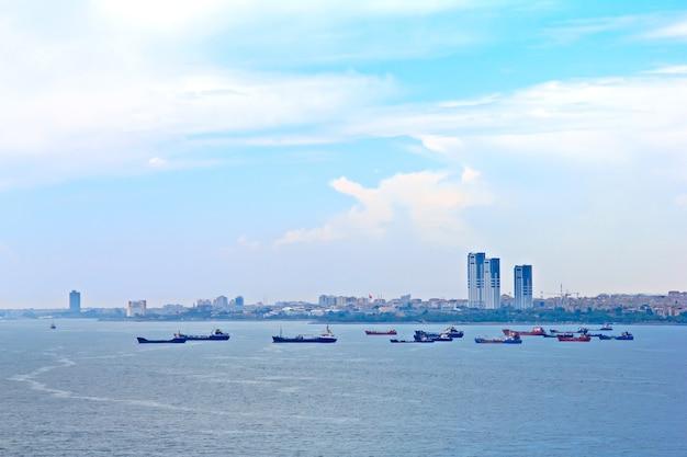 Many cargo ships at istanbul turkey