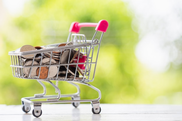 Many coin in pink mini shopping cart on white wooden floor with nature background.