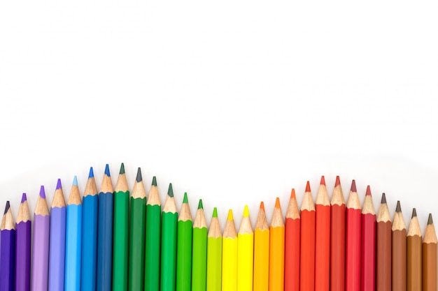 Many colored pencils as a colorful background