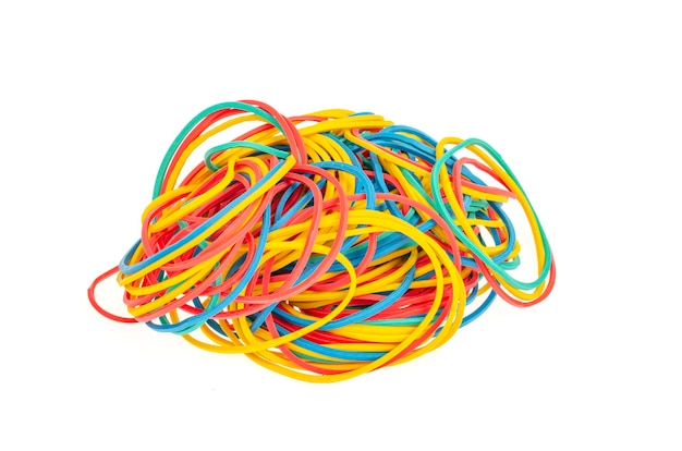 Many colourful multi coloured elastic rubber bands