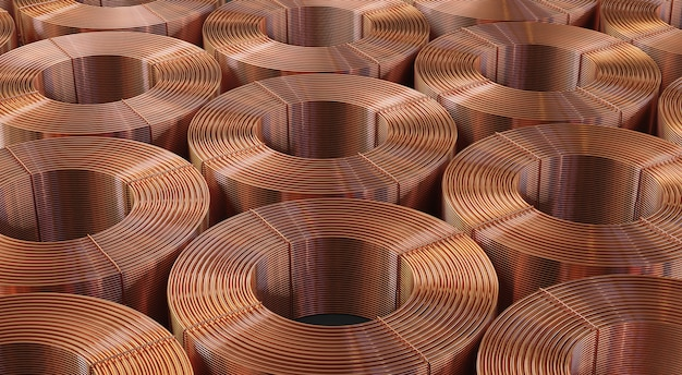 Many copper bobbins background