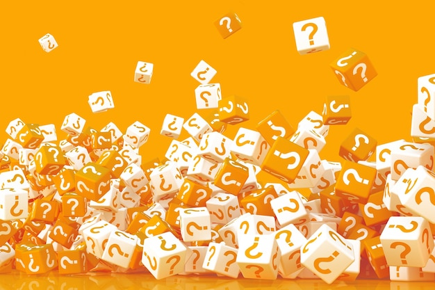 Many crumbling cubes with question marks on the sides 3d illustration