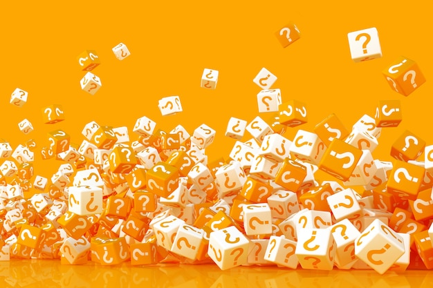 Many crumbling cubes with question marks on the sides 3d rendering