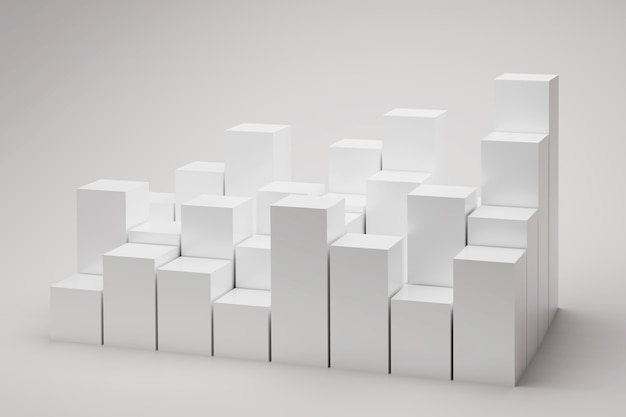 Many cubes on white background d illustration square blocks podiums for presentation product