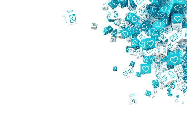 Many cubes with symbols of communication in social networks 3d illustration