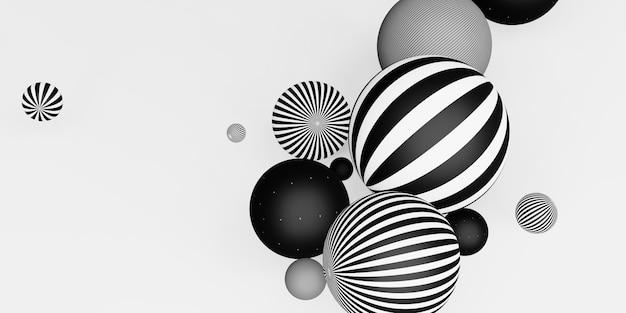 Many decorative balls horizontal stripes black and white 3d illustration
