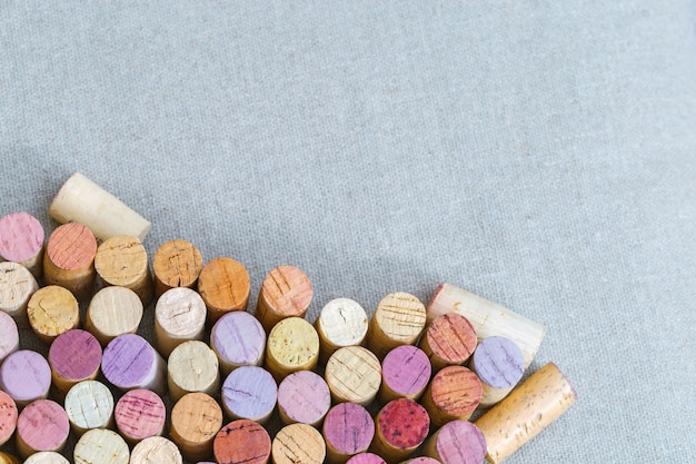 Many different close up wine corks with space